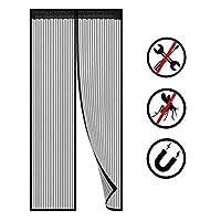 頑丈で、頑丈なフルスクリーンのマジックテープの網のドアカバーのためのドアスクリーンの磁気閉鎖は家/家の外の家の外で容易に通り抜けます (Color : 黒, Size : 79×87inch)