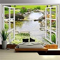 Hxcok カスタム写真壁紙3D窓風景写真壁画現代のリビングルームの寝室の背景防水キャンバス絵画-350X250CM