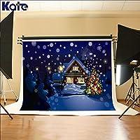 ケイト・フォトスタジオ小道具の背景幕クリスマスツリーで美しい夜フォト写真背景6.5X 5Ft
