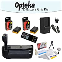 Optekaバッテリパックグリップ/垂直シャッターリリースOpteka lp-e6電池2本4800mAh合計と急速充電器、Opteka rc4ワイヤレスリモート、クリーニングキット、&ミニ三脚for Canon EOS 7d
