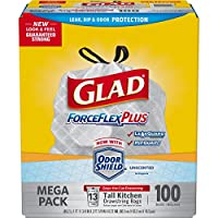 Glad ForceFlex Tall Kitchen Drawstring Trash Bags, 13 Gallon, 100 Count by Glad