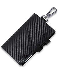 [J-BOSS] キーケース 本革キーホルダー スマートキーケース 6連キーホルダー 小銭入れ カードスロット付き 黒 ブラック