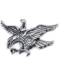 [テメゴ ジュエリー]TEMEGO Jewelry メンズステンレススチールヴィンテージペンダントゴシックイーグルネックレス、シルバー[インポート]