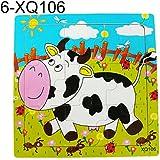 多色動物木製9個カラフルジグソーパズル玩具幼児 - 子供用 - 牛