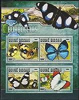 蝶の切手 ギニアビサオ2016年4種連刷シート 昆虫