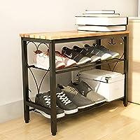 TLMY ヨーロッパスタイルのラックリビングルーム多機能アセンブリ格安鉄靴の戸棚ベンチ 靴箱 (サイズ さいず : 80CM*26.5CM*49CM)