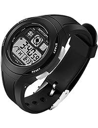 SANDA 子供 チャイルド 学生 PU バンド 多機能 電子時計 防水 LED スポーツ デジタル 腕時計 (ブラック)
