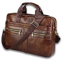 Vintage Genuine Leather Messenger Bag for Men - Brown Color - Padded Laptop Protection - fits 14 inch Computer - Carried as Briefcase Shoulder Satchel or Crossbody Bag with Adjustable Strap
