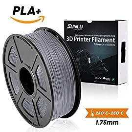 Grey PLA+ 3D Printer Filament 1.75mm 1KG Spool Filament for 3D Printing,3D Pens, Dimensional Accuracy +/- 0.02 mm SUNLU 3D Printer filament and 3D Pen is a place where your imagination is brought to life.  Designed with superior quality and ...