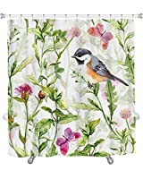 "Gear New Small Bird in Spring Meadow Flowers Butterflies Repeated Pattern Watercolor Shower Curtain, 74"" X 71"" [並行輸入品]"