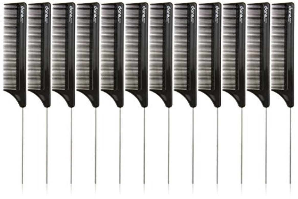 くるくる聞きますインシュレータDiane Pin Tail Comb Dozen, Black, 8.25 Inch [並行輸入品]
