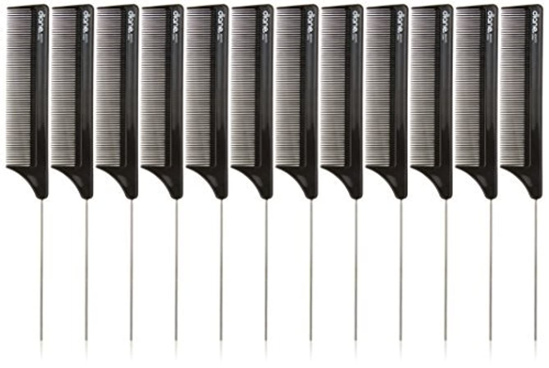 習熟度人種なんでもDiane Pin Tail Comb Dozen, Black, 8.25 Inch [並行輸入品]