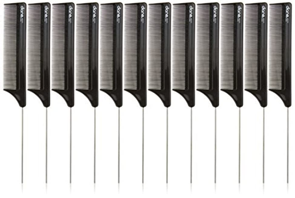 Diane Pin Tail Comb Dozen, Black, 8.25 Inch [並行輸入品]