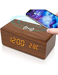hoco. 目覚まし時計 デジタル 温度計/ワイヤレス充電搭載 木目調 H01