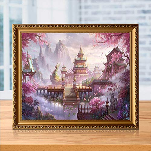 Clearance, DIY 5D Diamond Embroidery Rhinestone Pasted Arts Full Round Painting Cross Stitch Gift Bedroom Living Room Home Decor Scenic Vintage Palace Paint 30x40cm (D, 30x40cm)
