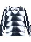 (パークガール)PARK GIRL コットン100%フライス素材ボーダーVネック長袖Tシャツ レディース 大きいサイズ M/L/LL 562840000b (M, ネイビー×オフホワイト(フレンチ))