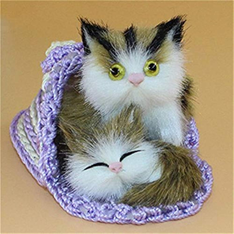 JEWH キュートな人造動物マザー 猫と子猫 - ぬいぐるみ人形 ソフトキャットトイ フレーム付き - 子供用おもちゃデコレーション 誕生日ギフト(3)