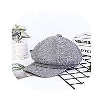 と冬の女性男性文学レトロベレー帽野生八角形帽子潮綿リネン、グレー、56-58cm