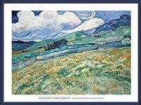 ポスター フィンセント ファン ゴッホ Landscape from Saint-Remy 1889 額装品 ウッドベーシックフレーム(ブルー)