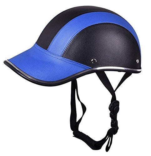 [해외]오토바이 하프 페이스 헬멧 보호 헬멧 승마 헬멧 가죽 야구 모자 대한 남성 여성 여자 5 색 (블루)/Motorcycle Half Face Helmet Protective Helmet Horse Riding Helmet Leather Baseball Hat for Men Women Girls 5 Colors (Blue)