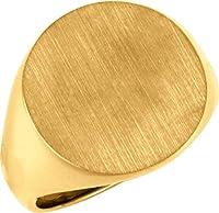 18.00MMメンズソリッドSignet Ring WithブラシFinished Top in 14Kイエローゴールド(サイズ10)