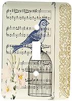 3drose LLC lsp _ 79216_ 1Musical Bird on鳥ケージwith lilies-ヴィンテージアートSingle切り替えスイッチ