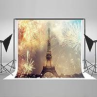 Kate 7x5ft(2.2mx1.5m) パリ都市写真撮影背景 夜 花火 背景布 撮影用 綿 厚地 可洗濯 折りたためる 写真 壁紙