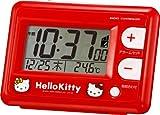 Hello Kitty (ハローキティ) 目覚まし時計 キャラクター 電波 デジタル キティ R095 赤 リズム時計 8RZ095RH01