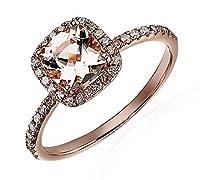 期間限定SALE : 1.25カラットピーチピンクモルガナイトとダイヤモンド婚約指輪10Kローズゴールド