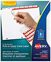 Index Maker Clear Label Dividers, 8-Tab, Letter, White, 5 Sets