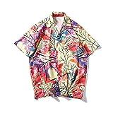 メンズ シャツJopinica 夏半袖カラフルプリントTシャツ ストライプビーチウェア ゆったり メンズ日常夏服 男の子 S~2XL 大きいサイズ 和風 日系 カジュアル衣装 遊び着 レッド・イエロー・ブルー