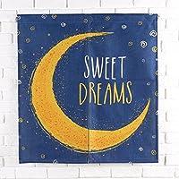 Unusual のれん おしゃれ 綺麗 可愛い 月 ノレン アート 遮光 暖簾 カーテン 玄関 2サイズ 遮る 風水 子供部屋 半簾 突っ張り棒付き 引越し祝い