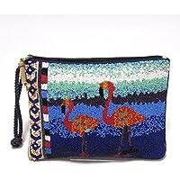 【Swaraj Bag】FLAMINGOビーズ刺繍2wayクラッチバッグ
