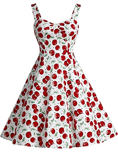 Dresstell(ドレステル) スイングミディワンピース シャーリング 紐付き トレロドレス レディース ホワイト大柄チェリー XSサイズ
