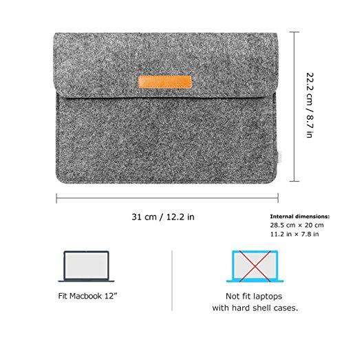 Inateck 12インチ インナーケース Apple New MacBook 12/ウルトラブック/ネットブック用 プロテクターケース [カラー: ブラック]