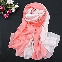 HITSAN INCORPORATION Women Silk Scarf 190x100cm Real Silk Material Thin Long Gradient Color Scarf Sunscreen Shawl Autumn Beach Shanghai Style Scarf