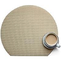 非正方形半円プレースマット 耐熱 汚れにくい 滑りにくい 洗濯可能 ダイニングテーブル用プレースマット 織ビニール製ラウンドテーブルプレースマット 4枚セット ゴールド