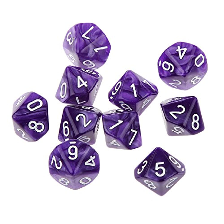 【ノーブランド品】 10個 八色選ぶ アクリル製 不透明 10面 0-9 サイコロ プレー ギフト 装飾 - 紫の