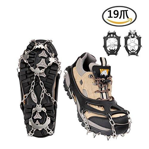 19本爪 アイゼン 靴底用滑り止め ステンレス製 スノースパイク スノーチェーン