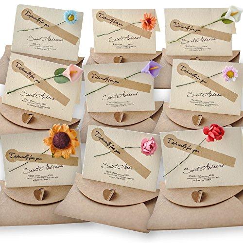 (moin moin) メッセージ カード 花束 バースデー グリーディング 花 ひまわり ユリ バラ カーネーション など 封筒 + カード 2WAY 9種セット