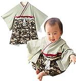 Sweet Mommy 袴 ロンパース ベビー 着物 カバーオール 日本製和柄ちりめん オーガニックコットン身頃 ブラック 90