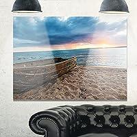 Design Art MT10778-40-30 日没のサビのボートボート、特大海のケープメタル壁アート、40x30