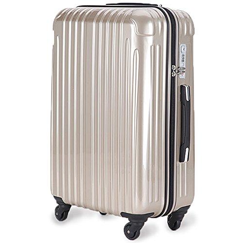 超軽量 2年保証 スーツケース TSAロック搭載 旅行バック トランクケース 旅行カバン (大型Lサイズ(長期滞在), シャンパンゴールド)
