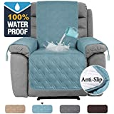 100% Waterproof Recliner Chair Covers for Armchairs Recliner Covers for Leather Chair Reclining Chair Covers Protect from Pets/Dogs, Quilted with Non Slip Backing and Strap (Standard, Blue)