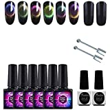 Frenshion 6Pcs 9D 10ML Magnetic Gel Soak-off UV LED Cat Eye Color Gel Nail Polish with 2X Double Point Magnet and 7.3ML Black Coat