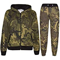 Kids Tracksuit Boys Girls Designer Green Camouflage Jogging Suit Top Bottom 5-13