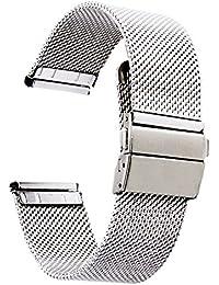 [ZHUGE] ソリッド メッシュ 腕時計用ベルト ステンレス ミラネーゼ ベルトプッシュボタン式 バックル メタル ブレス ポリッシュ仕上げ 18mm 20mm 22mm