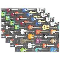 VAWA ランチョンマット おしゃれ 撥水 北欧 ギター柄 楽器柄 テーブルマット プレースマット 防汚 断熱 大人 子供用 家庭 レストラン用 インテリア 1枚セット