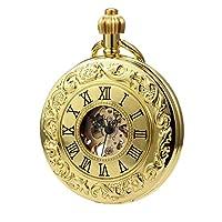 TREEWETO クラシック ローマ数字 機械式 懐中時計 ペンダント チェーン付き ゴールデン