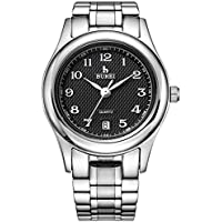 BUREI Women Silver Watches Casual Ladies Watch Black Dial with Calendar Stainless Steel Bracelet